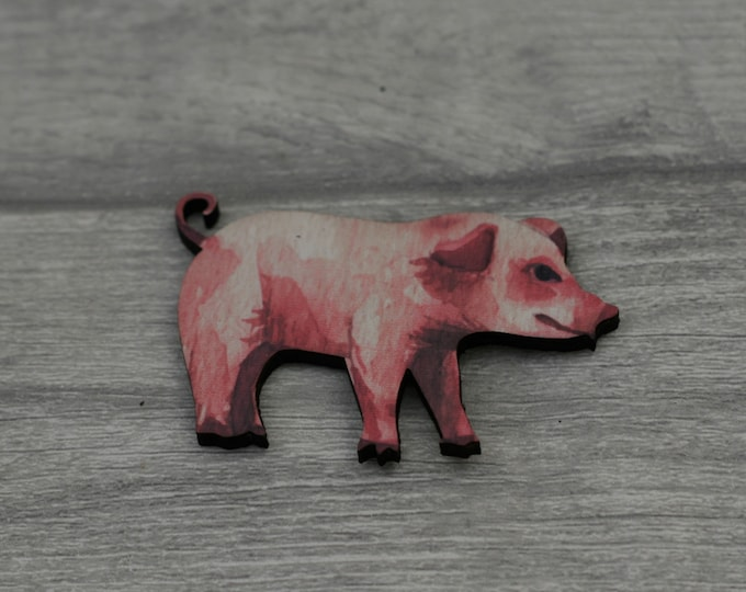 Pig Brooch, Wooden Pig Badge, Animal Brooch, Wood Jewelry, Pig Pin