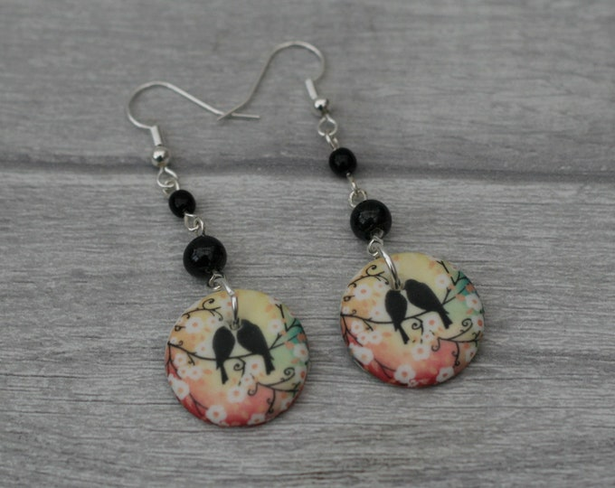 Black Bird Statement Earrings, Animal Jewelry