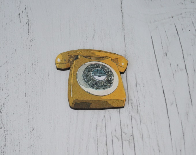 Yellow Retro Telephone Brooch, Wood Jewelry, Phone Badge Pin