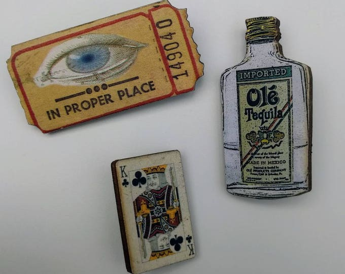 3 x Wooden Brooches - Ticket, Bottle, Card (SET A3)