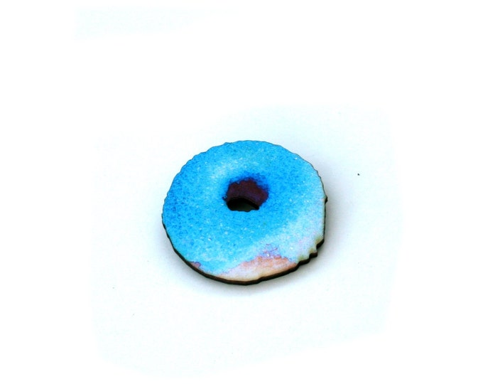 Donut Brooch, Wooden Doughnut Accessory, Blue Iced Donut Illustration, Wood Jewelry