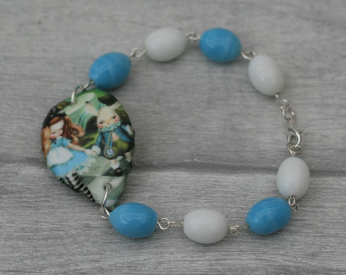 Blue and White Alice Bracelet, Alice in Wonderland Jewelry