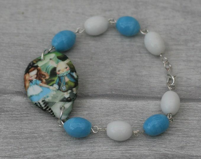 Blue and White Alice Bracelet, Alice in Wonderland Jewelry