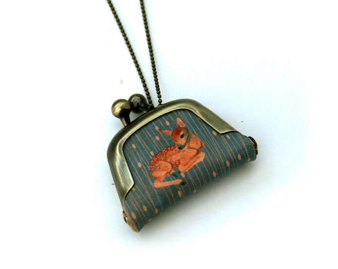 Deer Coin Purse Necklace, Fawn Necklace, Woodland Jewelry