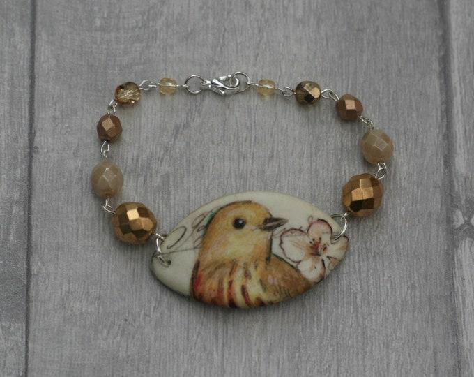 Yellow Bird Bracelet, Bird Bracelet, Bird Bar Bracelet