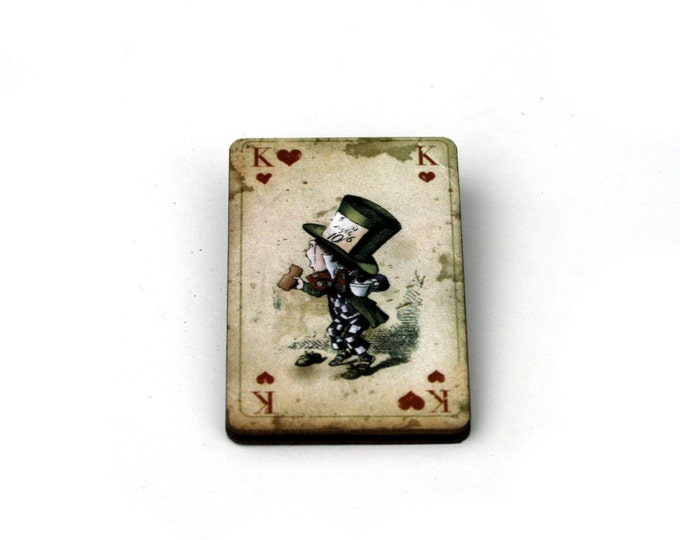 Mad Hatter Brooch, Alice in Wonderland Brooch, Tenniel Illustration, Wood Jewelry