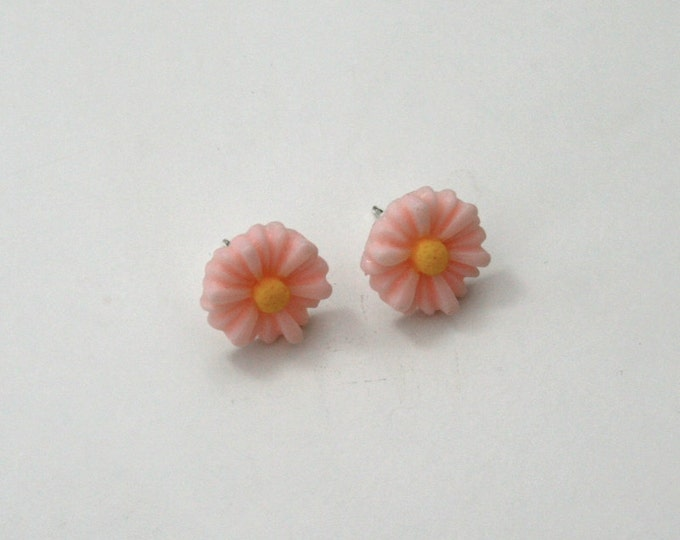 Pink Flower Earrings, Flower Stud Earrings