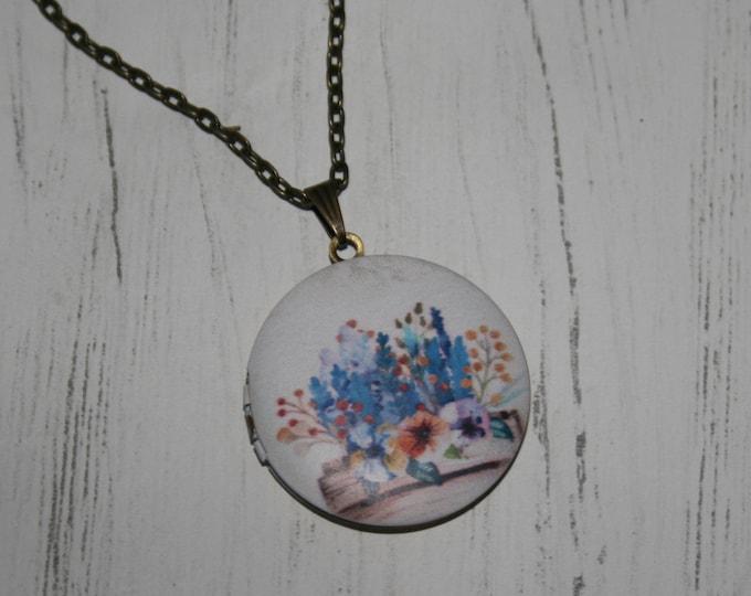 Flower Locket Necklace, Floral Necklace