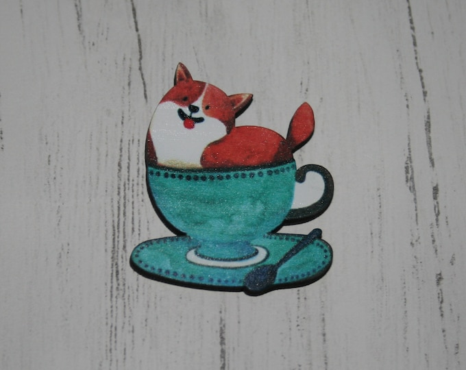 Animal in a Teacup Brooch, Wooden Afternoon Tea Brooch, Teacup Badge, Wood Jewelry
