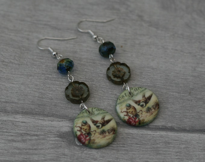 Bird Statement Earrings, Animal Jewelry