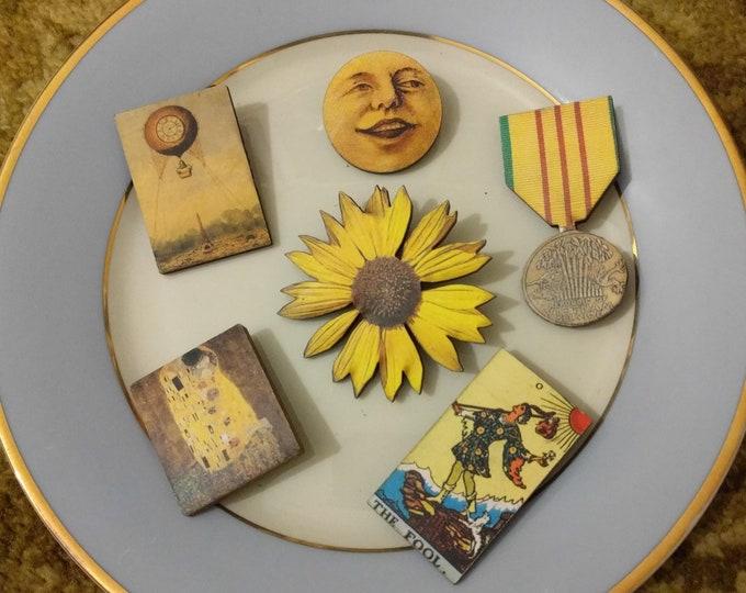 6 x Wooden Brooches - Sunflower, Moon, Medal, Klimt