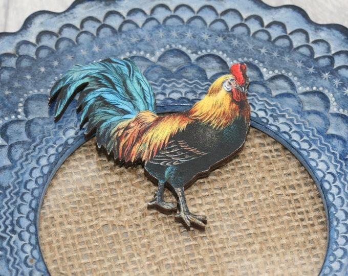 Cockerel Brooch, Wooden Chicken Badge, Animal Brooch, Wood Jewelry, Bird Brooch, Wooden Pin