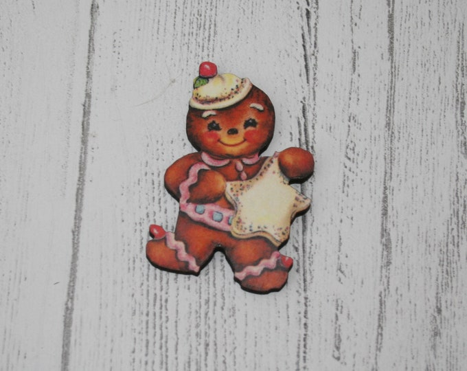 Gingerbread Man Brooch, Christmas Illustration, Wood Jewelry, Christmas Brooch, Wood Jewelry