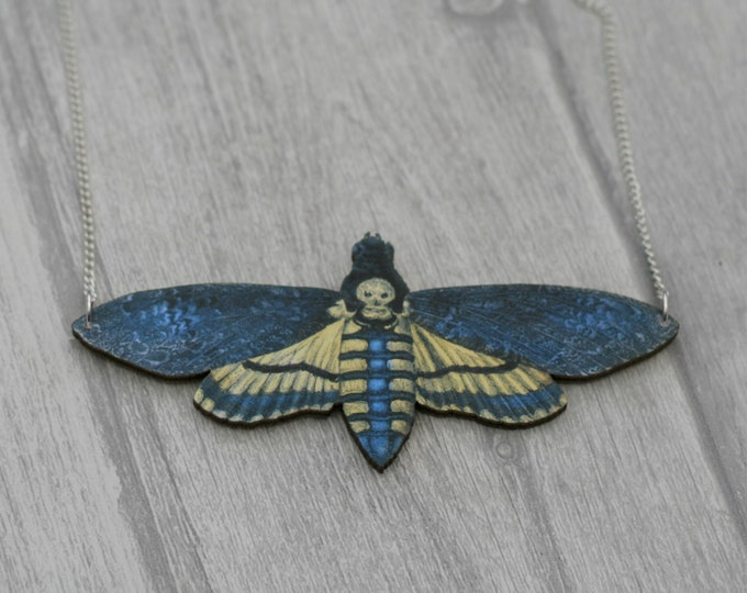 Death's Head Moth Necklace, Wood Pendant, Illustration Jewelry, Butterfly Necklace, Woodland, Animal Necklace, Wood Jewelry