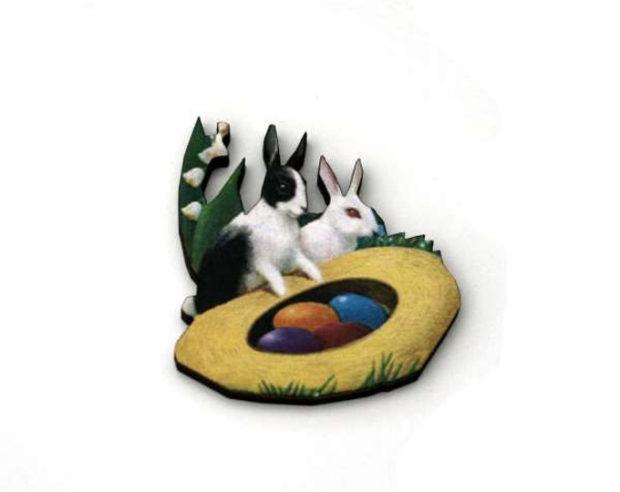 Easter Egg Brooch, Rabbit Brooch, Wood Jewelry, Animal Brooch, Spring Jewelry