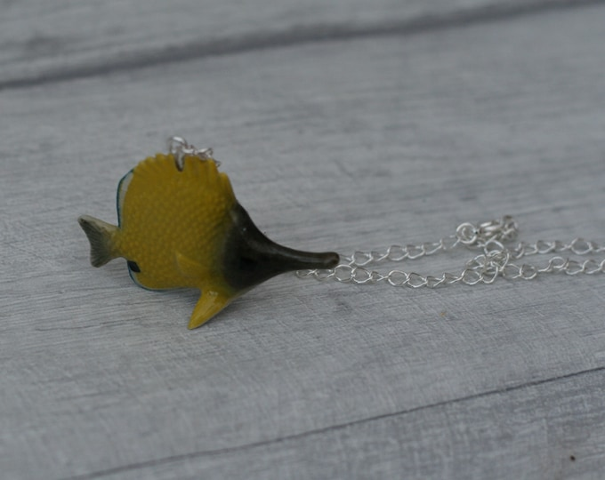 Porcelain Angel Fish Necklace, Yellow Fish Necklace, Animal Necklace