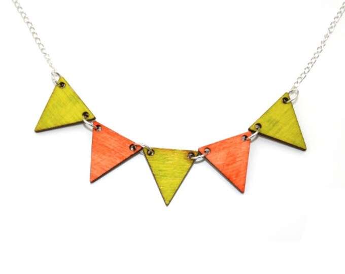 Bunting Necklace, Lime Green and Orange Wood Triangles, Geometric Triangle Necklace, Wood Jewelry