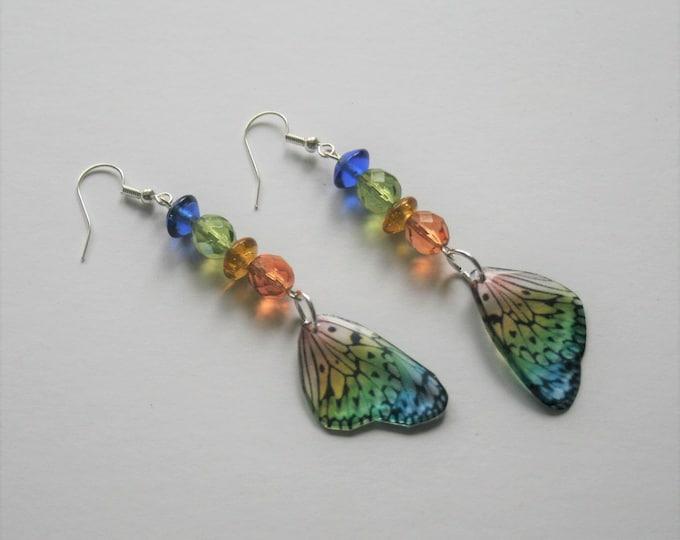 Rainbow Butterfly Earrings, Butterfly Illustration, Dangle Earrings