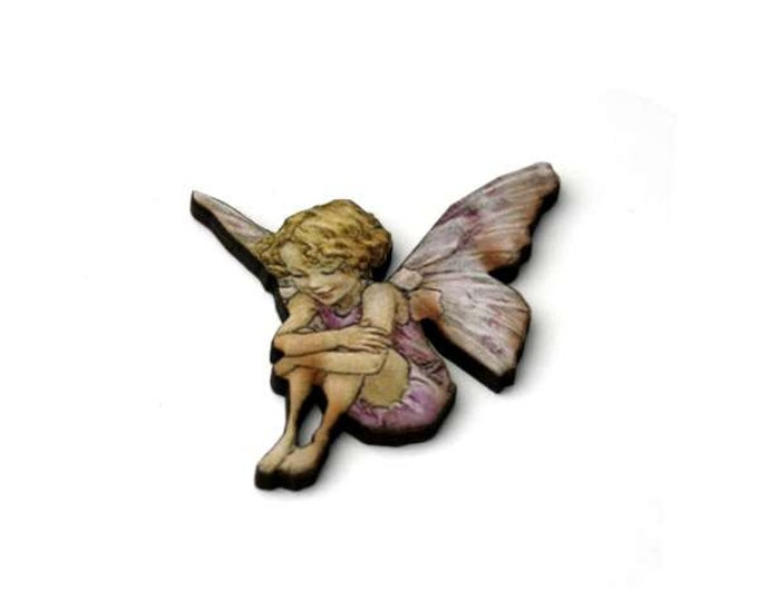 Pink Fairy Brooch, Faerie Illustration Brooch, Pixie Jewelry, Wood Brooch, Wood Jewelry