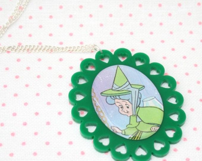 SALE Fairy Godmother Illustration Necklace OOAK