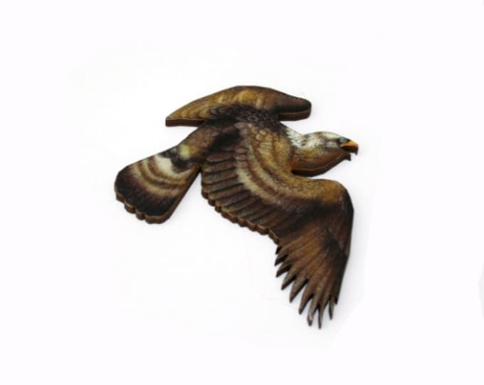 Eagle Brooch, Woodland Bird Illustration, Wood Jewelry, Animal Brooch