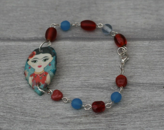 Blue and Red Frida Bracelet, Flower Bracelet, Flower Bar Bracelet