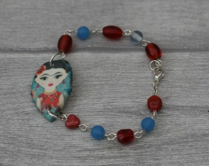 Blue and Red Frida Bracelet, Flower Bracelet, Flower Bar Bracelet
