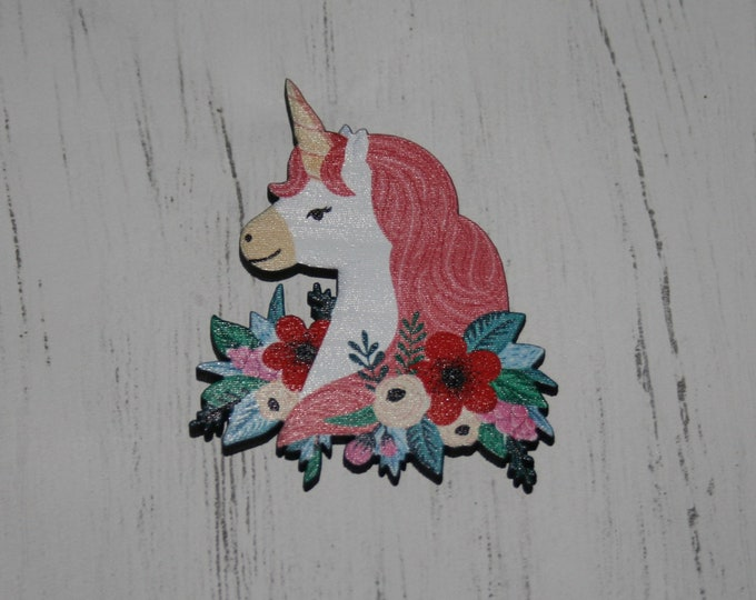 Unicorn Brooch, Wooden Unicorn Badge / Pin, Unicorn Illustration