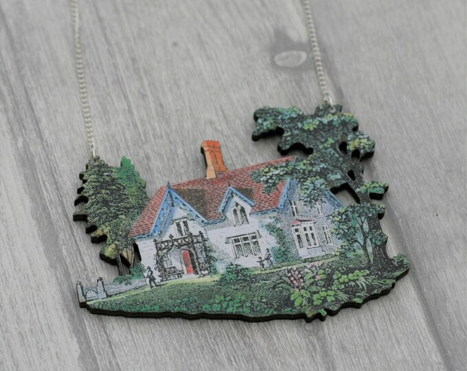 Country House Necklace, Wood Pendant, Illustration Jewelry, Wood Jewelry