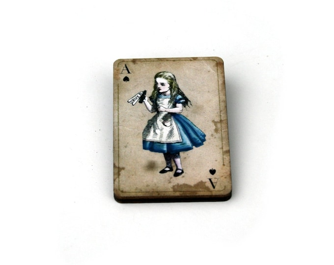 Alice Drink Me Brooch, Alice in Wonderland Brooch, Tenniel Illustration