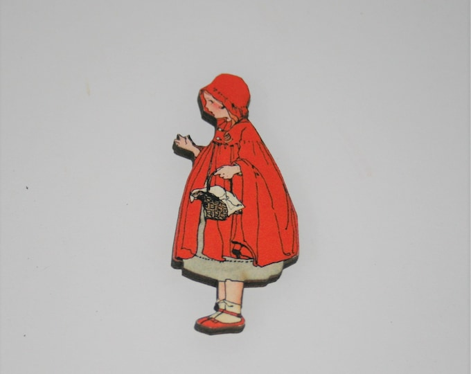 Little Red Riding Hood Brooch, Fairy Tale Badge, Little Red Riding Hood Pin
