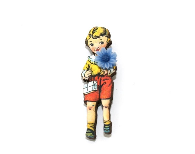 Boy Brooch, Schoolboy Illustration, Altered Art, Mixed Media, Wood Jewelry