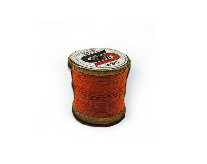 Orange Cotton Spool Brooch, Wooden Thread Spool Illustration, Wood Jewelry, Bobbin Brooch