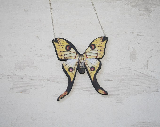 Swallowtail Moth Necklace, Luna Moth Wood Pendant, Illustration Jewelry, Butterfly Necklace, Woodland, Animal Necklace, Wood Jewelry