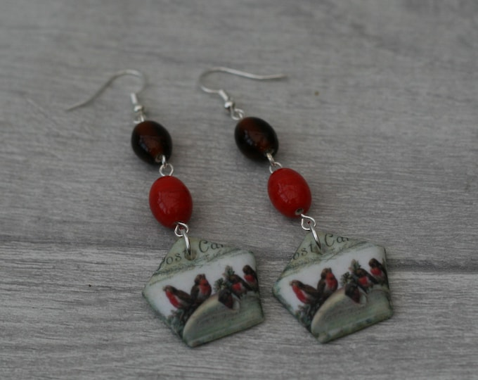 Red Bird Statement Earrings, Animal Jewelry