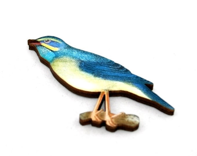 Blue Bird Brooch, Wooden Bird Brooch, Bird Illustration, Woodland, Wood Jewelry