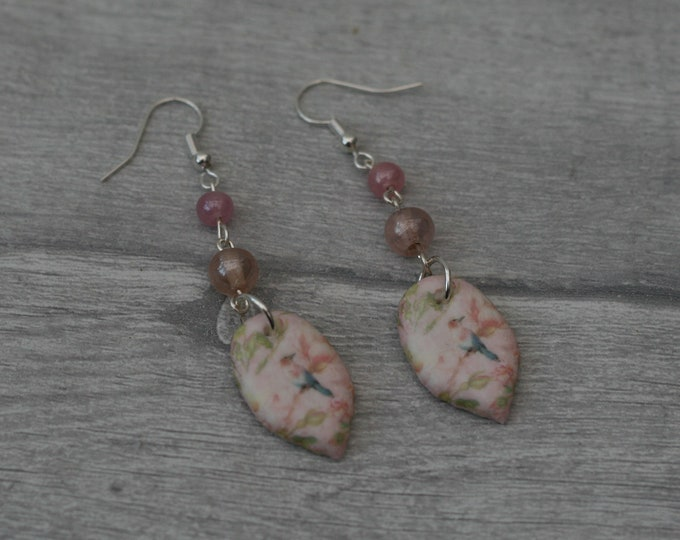 Pink Bird Statement Earrings, Animal Jewelry