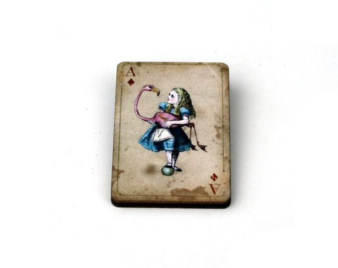 Alice & Flamingo Brooch, Alice in Wonderland Brooch, Tenniel Illustration