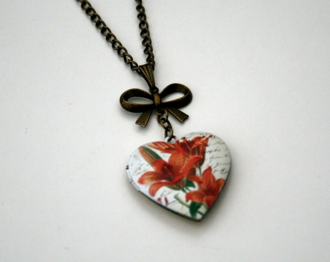 Red Flower Locket Necklace, Floral Necklace, Heart Locket Necklace