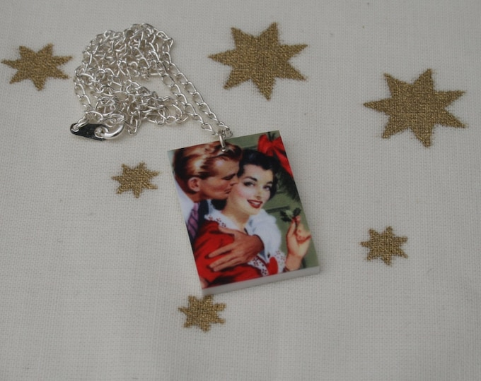 Christmas Couple Necklace, Vintage Christmas Illustration Necklace