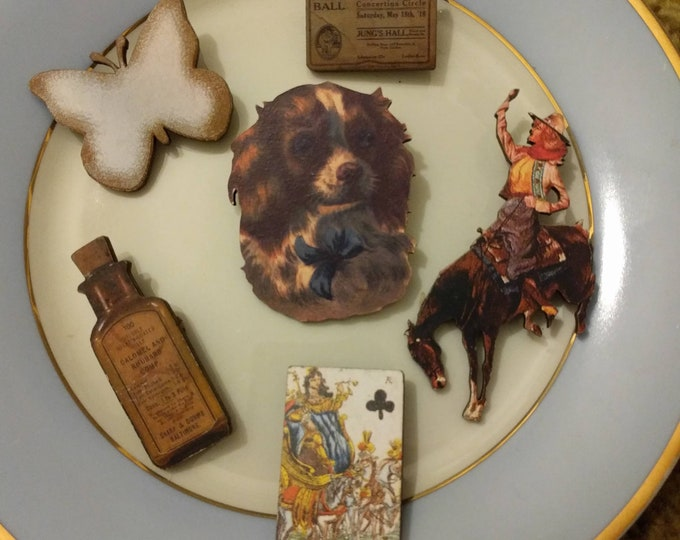 6 x Wooden Brooches - Butterfly, Dog, Horse, Cowboy