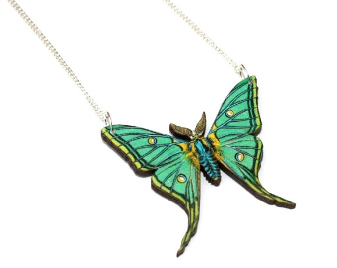 Green Swallowtail Moth Necklace, Luna Moth Wood Pendant, Illustration Jewelry, Butterfly Necklace, Woodland, Animal Necklace, Wood Jewelry