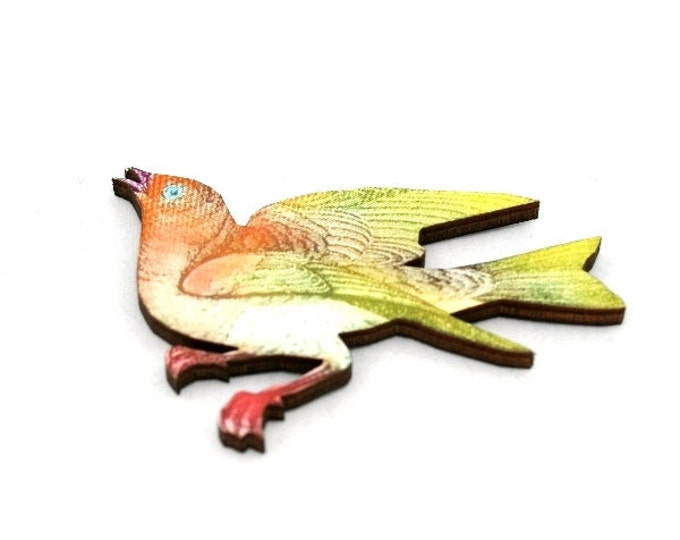 Bird Brooch, Wooden Bird Brooch, Bird Illustration, Wood Jewelry