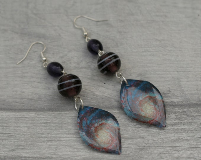 Galaxy Earrings, Space Illustration, Dangle Earrings