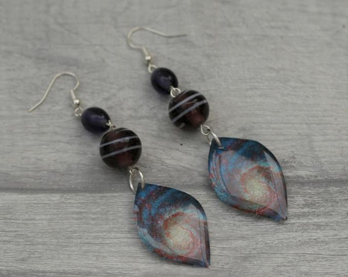 Galaxy Earrings, Space Illustration, Dangle Earrings