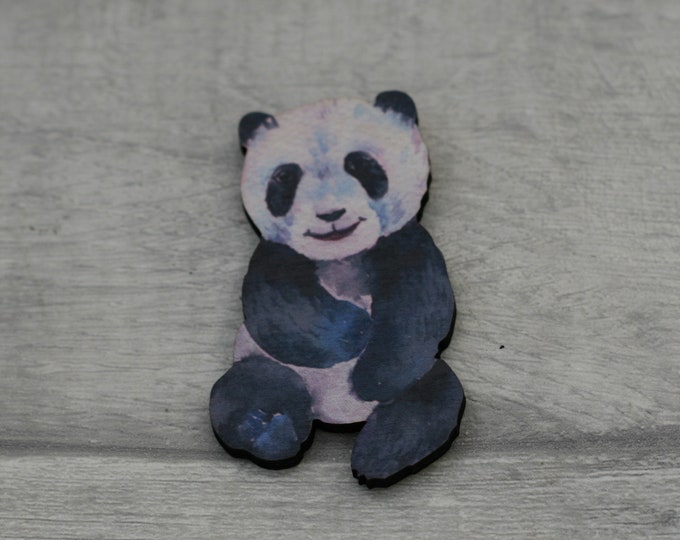 Panda Bear Brooch, Wood Jewelry, Animal Brooch