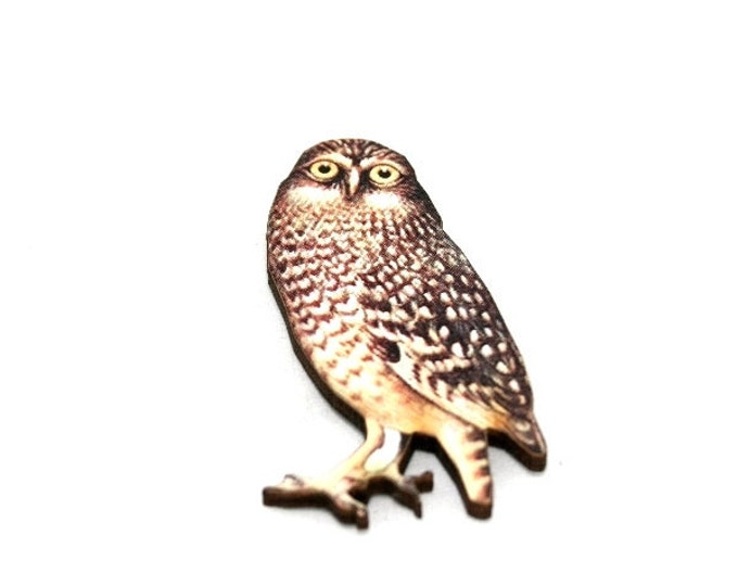 Owl Bird Brooch, Wooden Owl Brooch, Owl Illustration, Woodland, Wood Jewelry, Animal Brooch