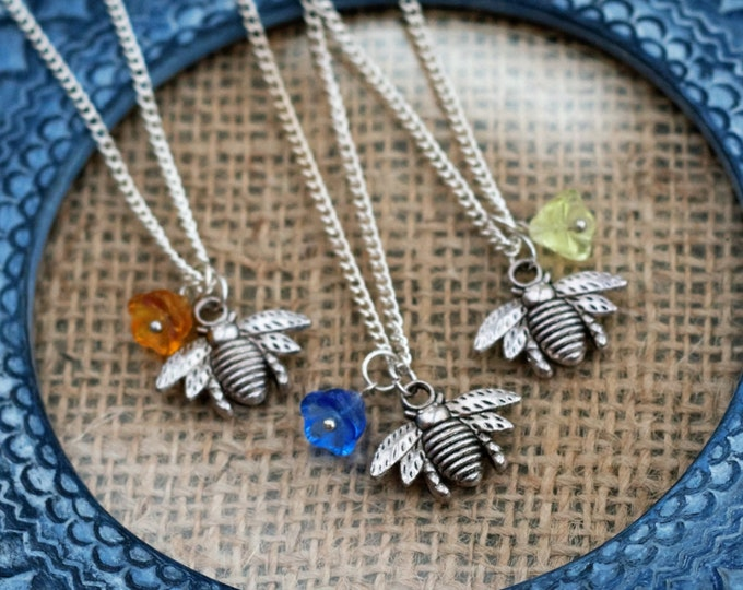 Bee Necklace, honeybee Necklace, Woodland, Bee Pendant, Animal Jewelry