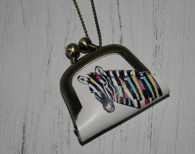 Zebra Coin Purse Necklace