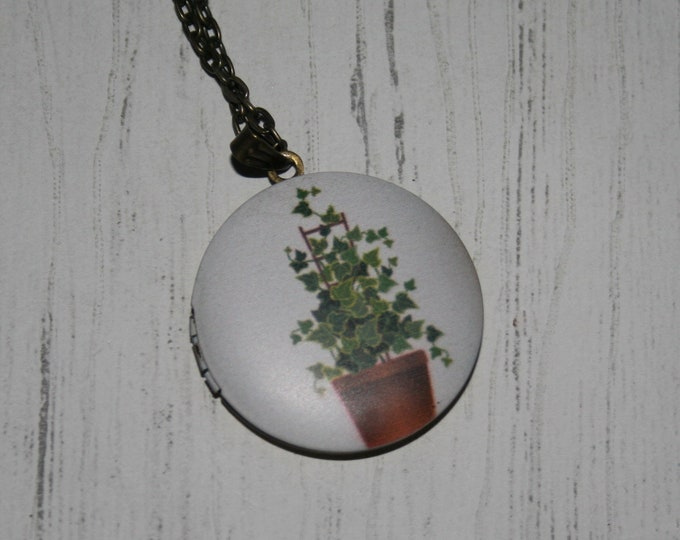 Plant Locket Necklace, Leaf Necklace, Woodland